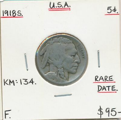 USA 1918s Buffalo Nickel KM-134 Fine Scarce Date