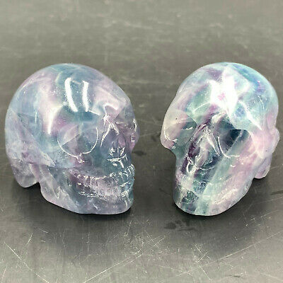 "2"" Natural Quartz Crystal skull Carved Rainbow fluorite stone healing 1pc"