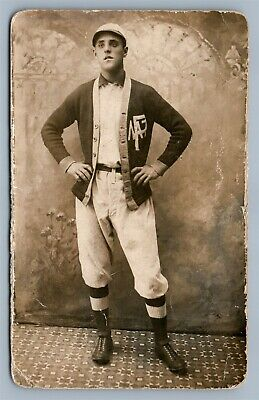 YOUNG MAN in PRIVATE COLLEGE UNIFORM ANTIQUE REAL PHOTO POSTCARD RPPC