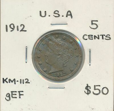 USA 1912 Liberty Nickel KM-112 gEF Nice Grade