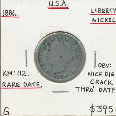USA 1886 Liberty Nickel KM-112 Good RARE DATE