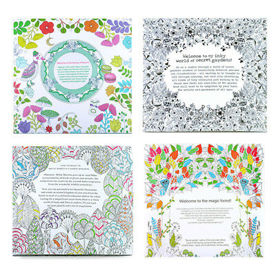 Colour Therapy Adult Colouring Books Floral Animal Pattern Anti Stress Relief