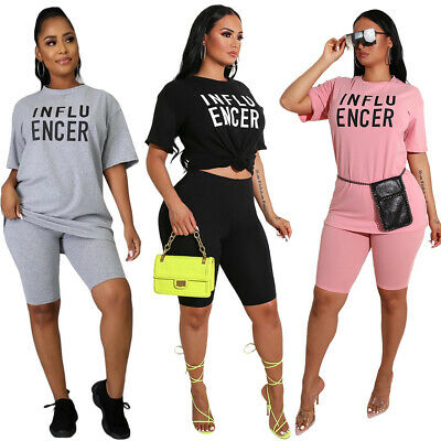 NEW Women's Stylish Short Sleeves O Neck Letter Print Casual Jumpsuit 2pcs Sport