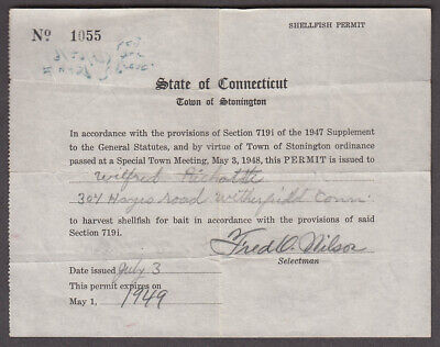 State of Connecticut Town of Stonington Shellfish Harvesting Permit 1949
