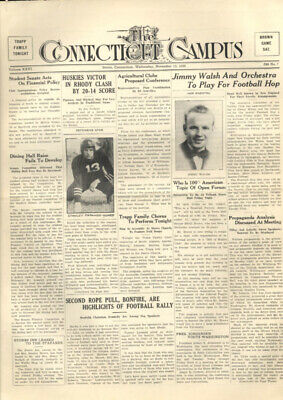 University of CONNECTICUT CAMPUS daily 11/15 1939 football Trapp Family soccer