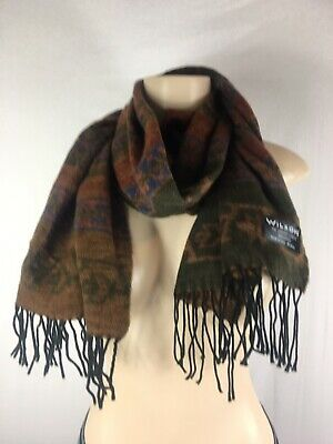 Women's Wilson's Leather Made In Italy Scarf 100% Acrylic Aztec  Fringe Brown