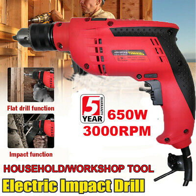 Electric Corded Hammer Impact Power Drill 650W Available Speed 10Pc Accessories