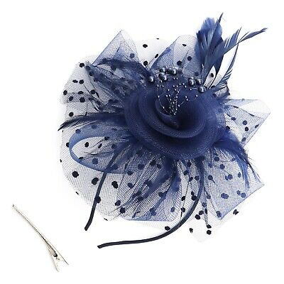 Flower Feather Fascinator Headband for Women Ladies Wedding Accessories Blue