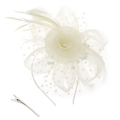 Flower Feather Fascinator Headband for Women Ladies Wedding Accessories Beige