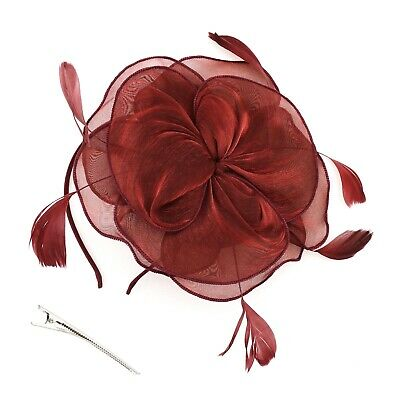 Flower Feather Fascinator Headband for Women Ladies Wedding Wine Red Prom