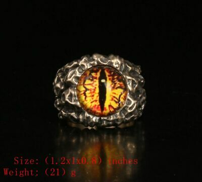 Precious Chinese 925 Silver Real Silver Solid Silver Ring Eye Exorcism Mascot