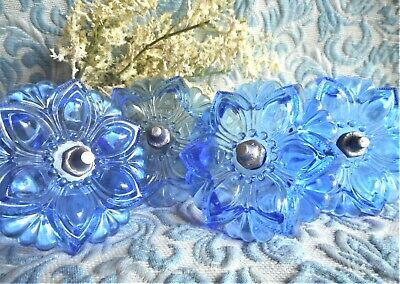 Vintage Blue Glass Flower Floral Curtains Drapery Hold Tie Backs Set Lot of 4