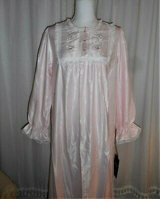 Vintage NOS Vanity Fair Pink Satin Embroidered Floral & Lace Long Nightgown S M