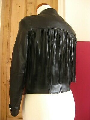 Ladies girls RIVER ISLAND fringe faux leather BIKER jacket UK 6 american cowboy