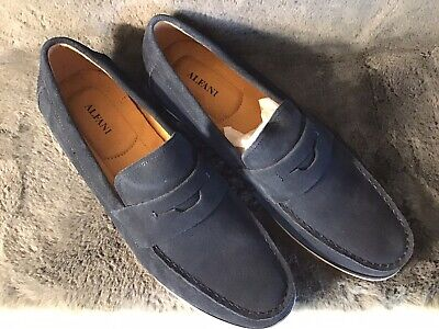 Alfani Mens Sawyer Slip-On Drivers Loafers Suede Navy Blue Size 12 NWOB