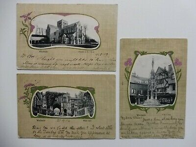 3 Early Vintage Postcards.winchester.picture Framed.hampshire.