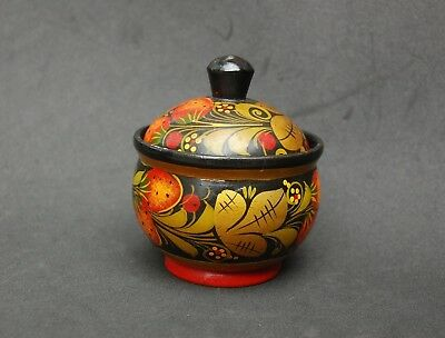 """Russian Turned Wood Box Round Hand Painted Red Gold Lid Trinket 3 1/2"""" Folk Art"""