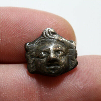 Circa 300 Bc Ancient Greek Silver Nail Ornament Eros Face
