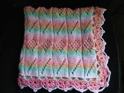 "Bright Cheerful Hand Knit Crochet Blanket 27"" X 27"""