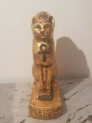 Rare Antique Ancient Egyptian Statue God Bastet Key Life Scarab protection1830BC