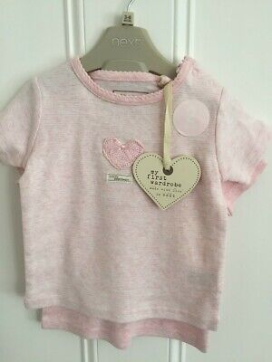 BNWT 2 Set My First Wardrobe Next baby girls pink heart  t shirt  3 - 6 month