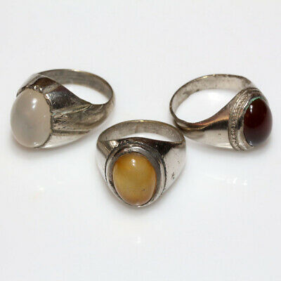 Lot OF 3 - Intact Late Post Medieval Greek Silver Plated Rings With nice Stones