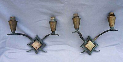 French ART DECO Pair Wall Sconces 2 Lights Wrought Iron Brass 1940