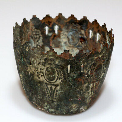 Extremely Rare Crusaders Decorated Bronze Cup Holder Circa 1000-1300 Ad-Perfect