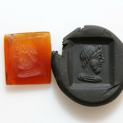 Indo Greek Ancient Carnelian Bead Seal Depicting Zeus Bust Circa 100 Bc - Ad