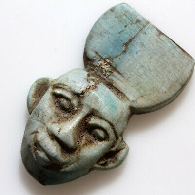 Circa 1000-700 Bc Ancient Egyptian Glazed Ornament - Face Of A King