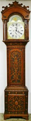Antique English C1830 8Day Carved Moonphase Precision Regulator Longcase Clock