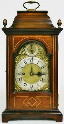 Rare Antique English Inlaid Mahogany Twin Fusee Striking Repeating Bracket Clock