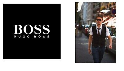 New Hugo Boss men black suit designer jeans vest wool waistcoat 40R Large £129
