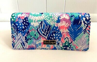 Lilly Pulitzer Women's Travel Wallet Cards Pink Blue Gold Logo Clutch NWOT