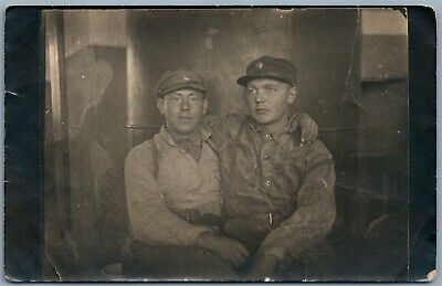 ESTONIAN SOLDIERS HUGGING ANTIQUE 1920s REAL PHOTO POSTCARD RPPC