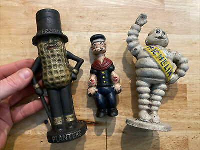 Michelin Mr. Peanut Popeye Piggy Bank Set Lot X3 Cast Iron Patina Paint Vg NR