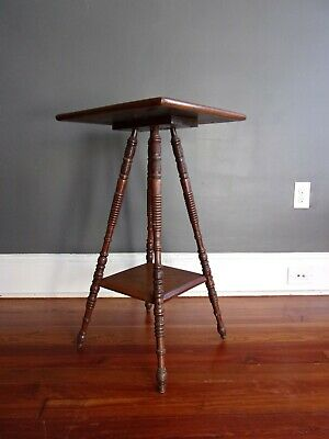 Antique OAK Plant Stand Lamp Table Turned Spindle Leg Victorian