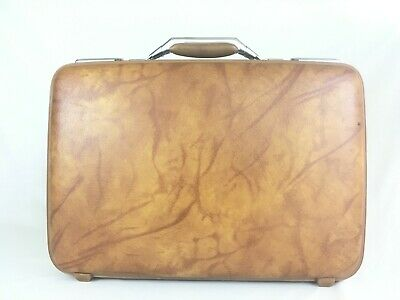 "Vintage American Tourister Briefcase 19"" Brown Marble Faux Leather"