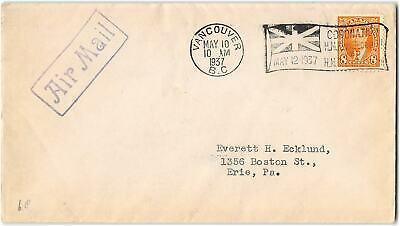 Canada #236 Vancouver B.C. to Erie PA, 1937,. Air Mail
