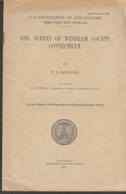 US Dept of Agriculture Soil Survey of Windham County CT 1912 w/ color map