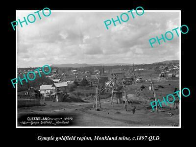 Old Large Historic Photo Of The Gympie Goldfields, Qld, Monkland Mine 1897
