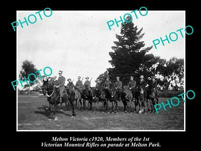OLD LARGE HISTORIC PHOTO OF MELTON VICTORIA, THE VICTORIAN MOUNTED RIFLES c1920