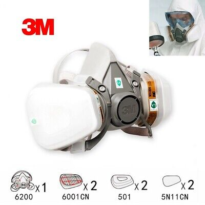 3M 6200 Medium Dust Gas Paint Spray Protect Mask Filter 7in1 Set Replace Fitting