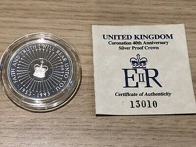 1993 UK Coronation 40th Anniversary Silver Proof Crown With COA