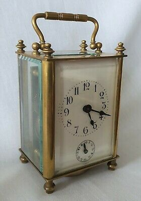 Antique Carriage Alarm Clock And Fully Working With Key 13cm With Handle Raised