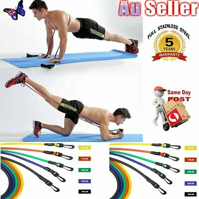 11pcs Resistance Tube Set Yoga Pilates Abs Latex Exercise Fitness Workout Band A