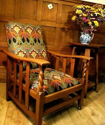 Arts and Crafts Morris Chair Circa 1900- New Upholstery Liberty &Co Fabric