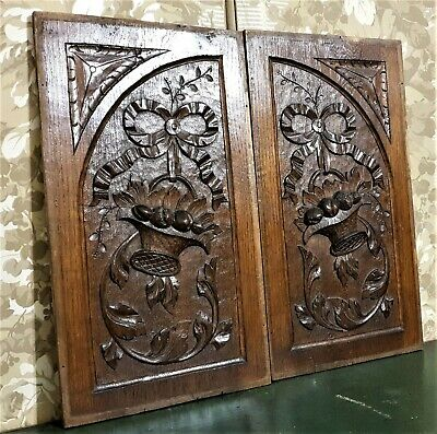 Pair bow basket scroll wood carving panel Antique french architectural salvage