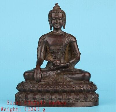 Buddhist Chinese Red Copper Statue Bodhisattva Spiritual Old Worship Collection