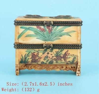 Precious Chinese Cattle B0Ne Jewelry Box Hand-Carved Panda Gift Collection